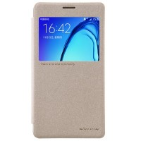 Полиуретановый чехол Nillkin Sparkle Leather Case Gold для Samsung Galaxy On7