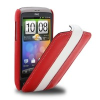 Кожаный чехол книга Melkco Leather Case Red/White LC для HTC Desire S