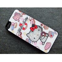 Пластиковый чехол Hello Kitty Black Crystal для Apple iPhone 5/5S/5SE