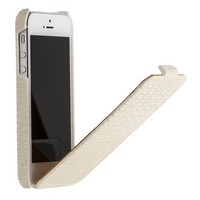 Кожаный чехол книга Borofone Crocodile flip White для Apple iPhone 5/5S/5SE