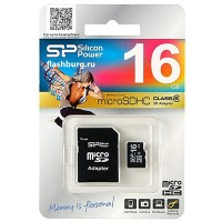 Карта памяти MicroSD(HC) Silicon Power 16GB Class 6+SD адаптер