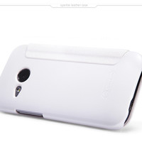 Полиуретановый чехол Nillkin Sparkle Leather Case White для HTC One M8 mini 2