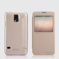Полиуретановый чехол Nillkin Sparkle Leather Case Gold для Samsung G900F Galaxy S5