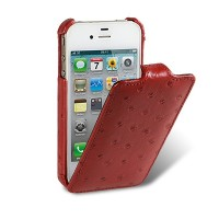 Чехол книга Melkco Leather Case Ostrich Pattern — Red для Apple iPhone 4/4S