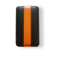 Кожаный чехол книга Melkco Leather Case Black/Orange LC для HTC Incredible S