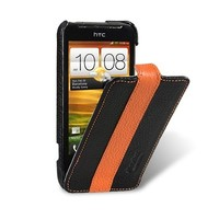 Кожаный чехол книга Melkco Leather Case Black/Orange LC для HTC One V