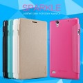 Полиуретановый чехол Nillkin Sparkle Leather Case White для Sony Xperia C4(#4)