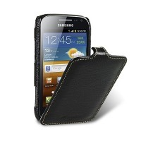 Кожаный чехол книга Melkco Leather Case Black LC для Samsung i8160 Galaxy Ace 2