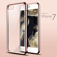 Силиконовый бампер KissWill TPU Case Gold/Transparent для Apple iPhone 7/iPhone 8