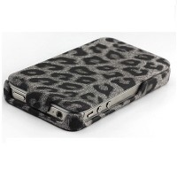 Кожаный чехол Nuoku Leopard Series Case Black для Apple iPhone 4/4S