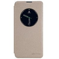 Полиуретановый чехол книга Nillkin Sparkle Leather Case Gold для LG X View [K500DS] \ X Screen