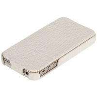 Кожаный чехол Borofone Crocodile flip White для Apple iPhone 4/4S