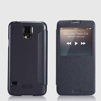 Полиуретановый чехол Nillkin Sparkle Leather Case Black для Samsung G900F Galaxy S5
