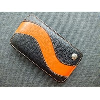 Кожаный чехол Melkco Leather Case Black/Orange LC для Samsung i8160 Galaxy Ace 2