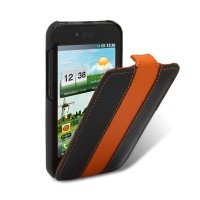 Кожаный чехол Melkco Leather Case Black/Orange LC для LG P970 Optimus Black