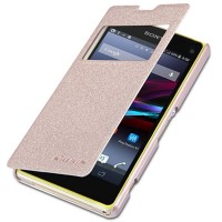 Полиуретановый чехол Nillkin Sparkle Leather Case Gold для Sony Xperia Z1 mini/Compact