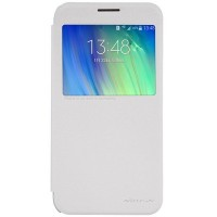 Полиуретановый чехол Nillkin Sparkle Leather Case White для Samsung Galaxy E7