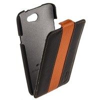 Кожаный чехол книга Melkco Leather Case Black/Orange LC для HTC One X