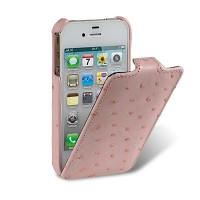 Кожаный чехол книга Melkco Leather Case (Ostrich Pattern — Pink) для Apple iPhone 4/4S