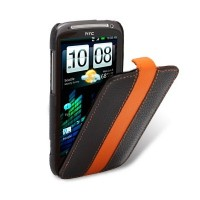 Кожаный чехол книга Melkco Leather Case Black/Orange LC для HTC Sensation XE