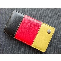 Кожаный чехол Melkco Leather Case Black/Red/Yellow LC для Samsung i9100 Galaxy S2