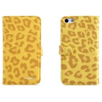 Кожаный чехол Nuoku Leopard Series Case Yellow для Apple iPhone 5/5S/5SE
