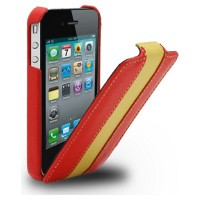 Кожаный чехол Melkco Leather Case Red/Yellow LC для Apple iPhone 4/4S