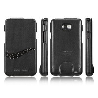 Кожаный чехол книга SGP Leather Case Anne Rossi Black для Samsung i9100 Galaxy S2