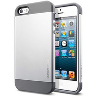 Пластиковый чехол SGP Slim Armor Series Silver Satin для Apple iPhone 5/5S/5SE