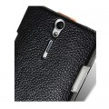 Кожаный чехол Melkco Leather Case Black/Orange  для Sony Xperia S/SL LT26i(#4)
