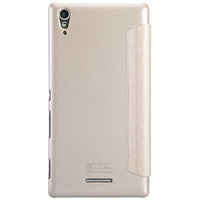 Полиуретановый чехол Nillkin Sparkle Leather Case Golden  для Sony Xperia T3
