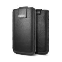 Кожаный чехол футляр SGP Crumena Black для Apple iPhone 5/5S/5SE
