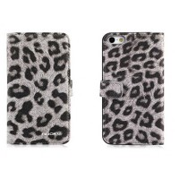Кожаный чехол Nuoku Leopard Series Case Grey для Apple iPhone 5/5S/5SE