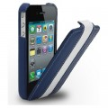 Кожаный чехол Melkco Leather Case Blue/White LC для Apple iPhone 4/4S(#1)