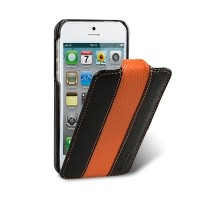 Кожаный чехол книга Melkco Leather Case Black/Orange LC для Apple iPhone 5/5S/5SE