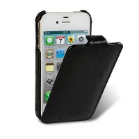 Кожаный чехол книга Melkco Leather Case(Ostrich Pattern Black) для Apple iPhone 4/4S