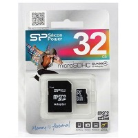 Карта памяти MicroSD(HC) Silicon Power 32GB Class 4+SD адаптер