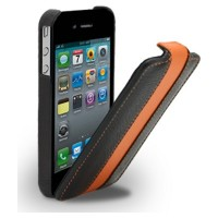 Кожаный чехол Melkco Leather Case Black/Orange LC для Apple iPhone 4/4S