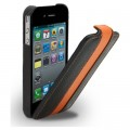 Кожаный чехол Melkco Leather Case Black/Orange LC для Apple iPhone 4/4S(#1)