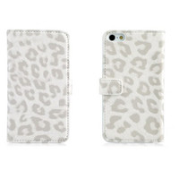 Кожаный чехол Nuoku Leopard Series Case White для Apple iPhone 5/5S/5SE