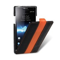 Кожаный чехол Melkco Leather Case Black/Orange  для Sony Xperia S/SL LT26i