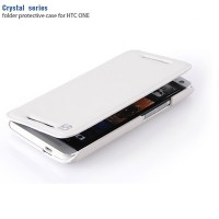 Кожаный чехол HOCO Crystal Series White для HTC One M7