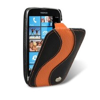 Кожаный чехол Melkco Leather Case Black/Orange LC для Nokia Lumia 610