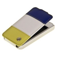 Кожаный чехол книга Melkco Leather Case Blue- White-Yellow LC для Apple iPhone 4/4S