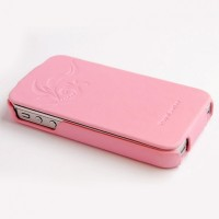 Кожаный чехол книга HOCO Leather Case Earl Fashion Pink для Apple iPhone 4/4S