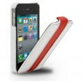 Кожаный чехол Melkco Leather Case White/Red LC для Apple iPhone 4/4S(#1)
