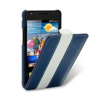 Кожаный чехол Melkco Leather Case Blue/White для Samsung i9100 Galaxy S2