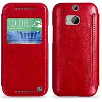 Кожаный чехол HOCO Crystal leather Case Red для HTC One M8