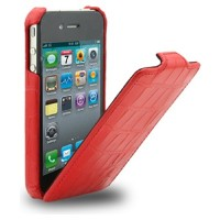Кожаный чехол Melkco Leather Case Crocodile Print Pattern Red для Apple iPhone 4/4S