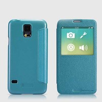 Полиуретановый чехол Nillkin Sparkle Leather Case Blue для Samsung G900F Galaxy S5